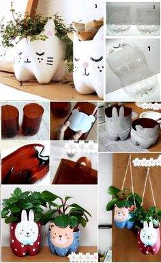 Turning pop bottles into planters