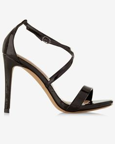 black patent leather crisscross heeled sandal from EXPRESS