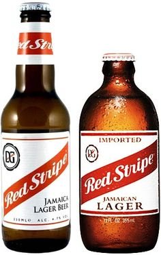 Red Stripe beer bottles. The longneck is the one seen in Dr. No, the smaller bottle is the current bottle more widely available.