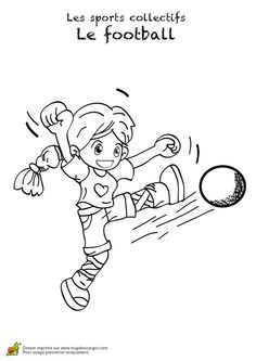 Coloriage d une fille qui jongle avec son ballon de foot - Fille joue au foot ...