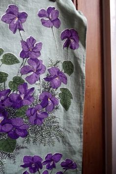 retro kitchen violets tea towel dish cloth  dish cloth vintage  cotton country country green. .