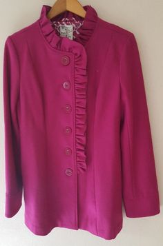 Tulle Anthropologie Wool Blend Pink Button Coat w/ Ruffle Trim Size L Beautiful! #Tulle #BasicCoat