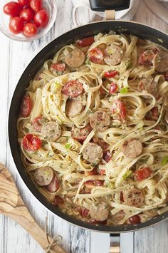One Pan Sausage Pepper Fettuccine Skillet is an easy weeknight dinner pasta recipe made with chicken sausage that's sure to impress your family and guests!