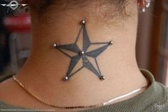 nape piercing...this would be cool to have on my triangle tat on my neck, but would be so scare my hair would get stuck...