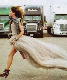 Woman Running in Dress