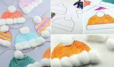 winter basteln kindern mütze papier ausmalen vorlage watte girlande fensterdeko basteln