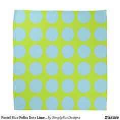 Pastel Blue Polka Dots Lime Green Bandana
