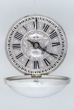 Pocket watch Silver dial shows Hour and quarter hour 1740 SNM