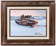 Lot 271: Wayne Cooper (American, b.1942) Oil on Canvas; Undated, signed lower right, depicting boats, horses and figures within a winter seascape; Cooper stamped mark en verso