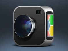 Camera iOS by Zaib Ali De standaard vlakke app icons evolueren nu naar 3D , dit 3D model blijft nog steeds in hetzelfde vlak als de platte icons. Het nadeel hieraan is dat het icoon waarschijnlijk niet hetzelfde effect gaat hebben op je smartphone.