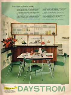 mid-century table and chair #vintage #home #decor #retro #green