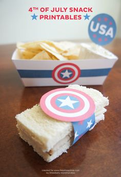 Fourth of July Snack Printables! Easy and festive way to dress up a party! Captain America!