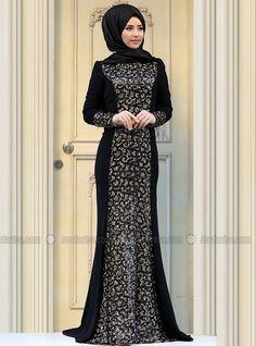 Sofia Evening Dress - Black - Zehrace