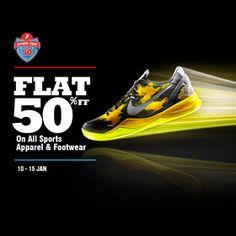 Flat 50% Off On All Sports Apparels & Footwear