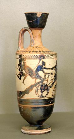 Achilles, dragging Hector's body behind his chariot. Attic Lekythos with a white background. Diosphos painter, 500-475 BCE