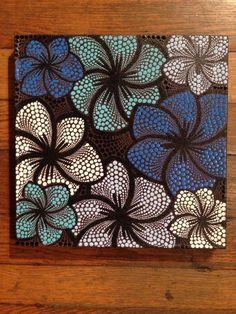 Discover thousands of images about Blue flowers - beautiful dot art Dot Art Painting, Mandala Painting, Painting Patterns, Painting Flowers, Stone Painting, Mandala Canvas, Mandala Dots, Mandala Design, Kunst Der Aborigines