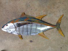 fish sculpture in tropical coastal beach metal wall art fish