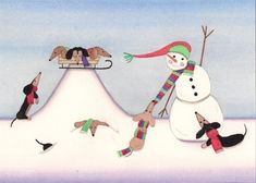 Christmas cards: Dachshunds (doxies) frolic in winter with snowman / Lynch folk art via Etsy