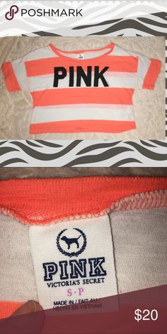 "Victoria's Secret Pink striped oversized crop top Brand: VS Pink Size: small  Material: 60% cotton 40% polyester  Condition : euc like new  Stripes are a pink/salmon hue   Measurements: underarm go underarm: 20"", shoulder to hem : 16.5""   Oversized crop top PINK Victoria's Secret Tops Crop Tops"