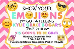 Emoji (show your emojions) birthday invitation in size 4x6 - Colors can be modified. - Contact me via email at aswiney01@yahoo.com or simply click on the image to visit my facebook page to message me. I can design this or any other invitation you want for only $10. Be sure to check out my other designs on my facebook page or on this Pinterest board.