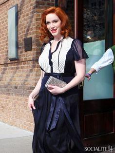 """Mad Men"""" star Christina Hendricks leaves her hotel in New York City"""