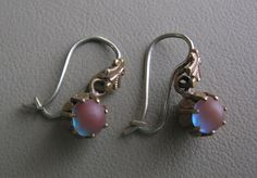 Antique Victorian EARRINGS w/ SAPHIRET GLASS Cabochons #Victorian #WireHooks