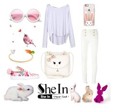 """""""bunny me"""" by fashionshelter ❤ liked on Polyvore featuring Monsoon, Balmain, Minna Parikka, Casetify, ZeroUV, Nach, Jellycat, Bunny, PinkWhite and shein"""