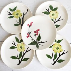 Vintage  -#Dixie #Dogwood -Southern Potteries #Blue Ridge Dessert Plates by TheClassicButterfly on Etsy