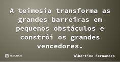 A teimosia transforma as grandes barreiras em pequenos obstáculos e constrói os grandes vencedores. — Albertino Fernandes