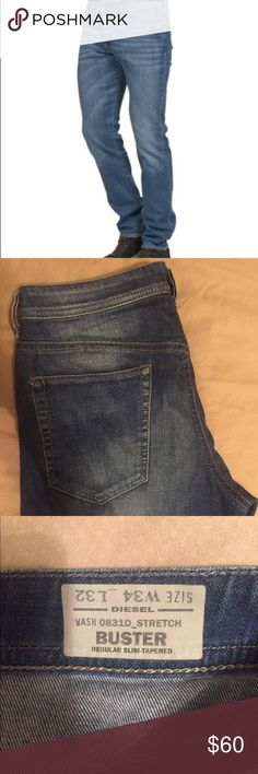 Diesel Industry Men's jeans. Wash 0831D_stretch. Buster regular slim-tapered. Size W34 L32. Jeans in great condition, originally $250. Diesel Jeans