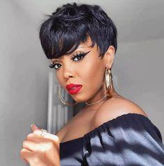 Black Women Short Hairstyles, Short Hair Cuts For Women, Short Relaxed Hairstyles, Short Pixie Hairstyles, Pixie Haircut, Short Human Hair Wigs, 100 Human Hair, Short Cut Wigs, Natural Hair Styles