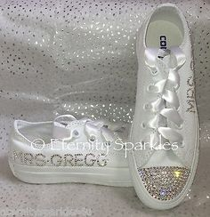 Customised/Personalised White Crystal Bling Sparkle Wedding Bridal Converse With Ribbon Laces UK Sizes ♥ White Satin Ribbon Laces Included With Diamante Heart Charms (Original Converse Laces Will Be In Box)♥. Bridal Converse, Bling Converse, How To Lace Converse, Adidas Pure Boost, Sparkle Wedding, Slip On Shoes, Women's Shoes, Formal Shoes, Types Of Shoes