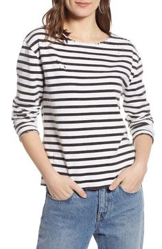 Treasure & Bond Distressed Tee (Regular & Plus Size) Rainy Day Outfit For Spring, Rainy Day Fashion, Outfit Of The Day, Distressed Tee, Stylish Tops, Casual Chic Style, Black White Stripes, Long Sleeve Tees, Nordstrom