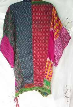 Vintage Kimono Colorful Silk Print ~ Up Cycled ~ Boho / Hippie Gypsy Chic Style ~ OOAK ~ Elephant ~ Multi Pattern ~ Vintage Textiles ~ Tunic
