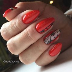 Nail art is a very popular trend these days and every woman you meet seems to have beautiful nails. It used to be that women would just go get a manicure or pedicure to get their nails trimmed and shaped with just a few coats of plain nail polish. Red Nail Art, Red Nails, Hair And Nails, Elegant Nails, Stylish Nails, Cute Nails, Pretty Nails, Red Nail Designs, Nagel Gel