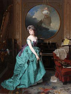 Donna allo specchio, 1870 by Domenico Induno (Italian 1815 – 1878)