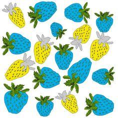 'Blaue und gelbe Erdbeeren' von Birgit Schlegel bei artflakes.com als Poster oder Kunstdruck
