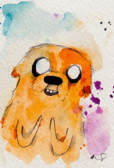 Jake Micro print / Archival reproductions 3.5x2.5 artist card. Adventure Time Fan Art Watercolor Painting Drawings. $4.50, via Etsy.