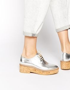 KG by Kurt Geiger Ludo Silver Leather Cork Flat Shoes