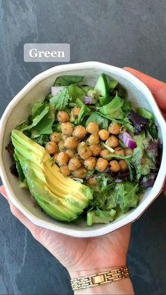 Green Salad Recipes, Healthy Salad Recipes, Diet Recipes, Cooking Recipes, Vegan Dinner Recipes, Vegan Dinners, Vegetarian Recipes, Healthy Cooking, Healthy Meals