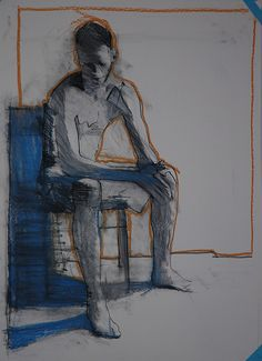 "Mark Horst - studio drawing, 22"" x 30"", conte and pastel on paper. 2009, via Flickr"