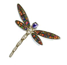 """Dragonfly Pendant Vintage Art Deco Style Sterling Lab Opal Pavé Amethyst & Clear Cubic Zirconia SPARKLING 1.93"""" x 1.67"""" by silvermoonstars on Etsy"""