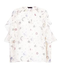 White Cosmic Print Frill Sleeve Blouse | New Look