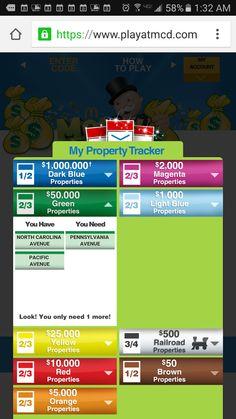 Katie M'S Life 2016: Apr. 9 McDonalds Monopoly Game Pieces