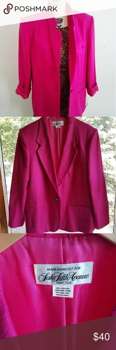 Saks Fifth Avenue Hot Pink Silk Blazer 1990S Never Worn almost fluorescent hot pink! Saks all silk blazer. Rare to find this color so vibrant! Vintage mint condition. Form is size 6, this would fit size 6-12 depending on the fit you desire, looks great oversized, has one tag that holds the spare buttons. Length 27,sleeve 22.5, shoulder to shoulder 18 inches Saks Fifth Avenue Jackets & Coats Blazers