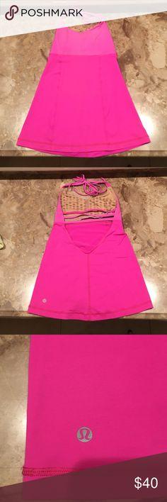 Lululemon hot pink halter top. Open back. Size 4 Lululemon hot pink halter top ties at neck. Open back, with 3 horizontal straps mid-back. lululemon athletica Tops Tank Tops