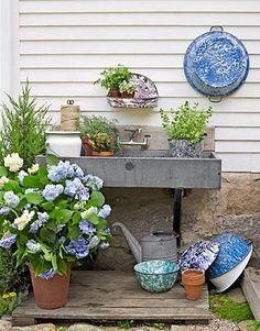 give up on hoping to buy one, but make my own perfect garden sink instead Dream Garden, Garden Art, Garden Design, Garden Sheds, Blue Garden, Summer Garden, Herb Garden, Outdoor Sinks, Outdoor Garden Sink