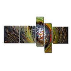 Hand-painted Abstract Oil Painting - Set of 5 - Free shipping