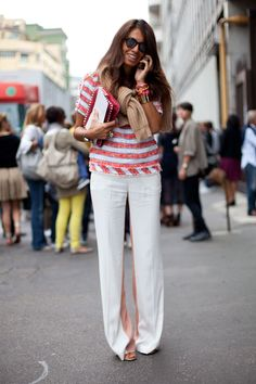 Street Style: Chanel stripes and a neck tied sweater are perfectly modern prep.
