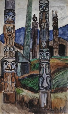 View Totem Poles, Kitwancool Village By Emily Carr; oil on board on board; Access more artwork lots and estimated & realized auction prices on MutualArt. Canadian Painters, Canadian Artists, Aboriginal Culture, Aboriginal Art, Emily Carr Paintings, Native American Totem, Fine Art Auctions, Gravure, Sculpture